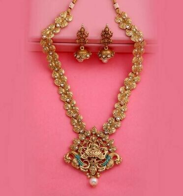 Estele Traditional Polki Antique Gold-Plated Laxmi Haar Necklace Set