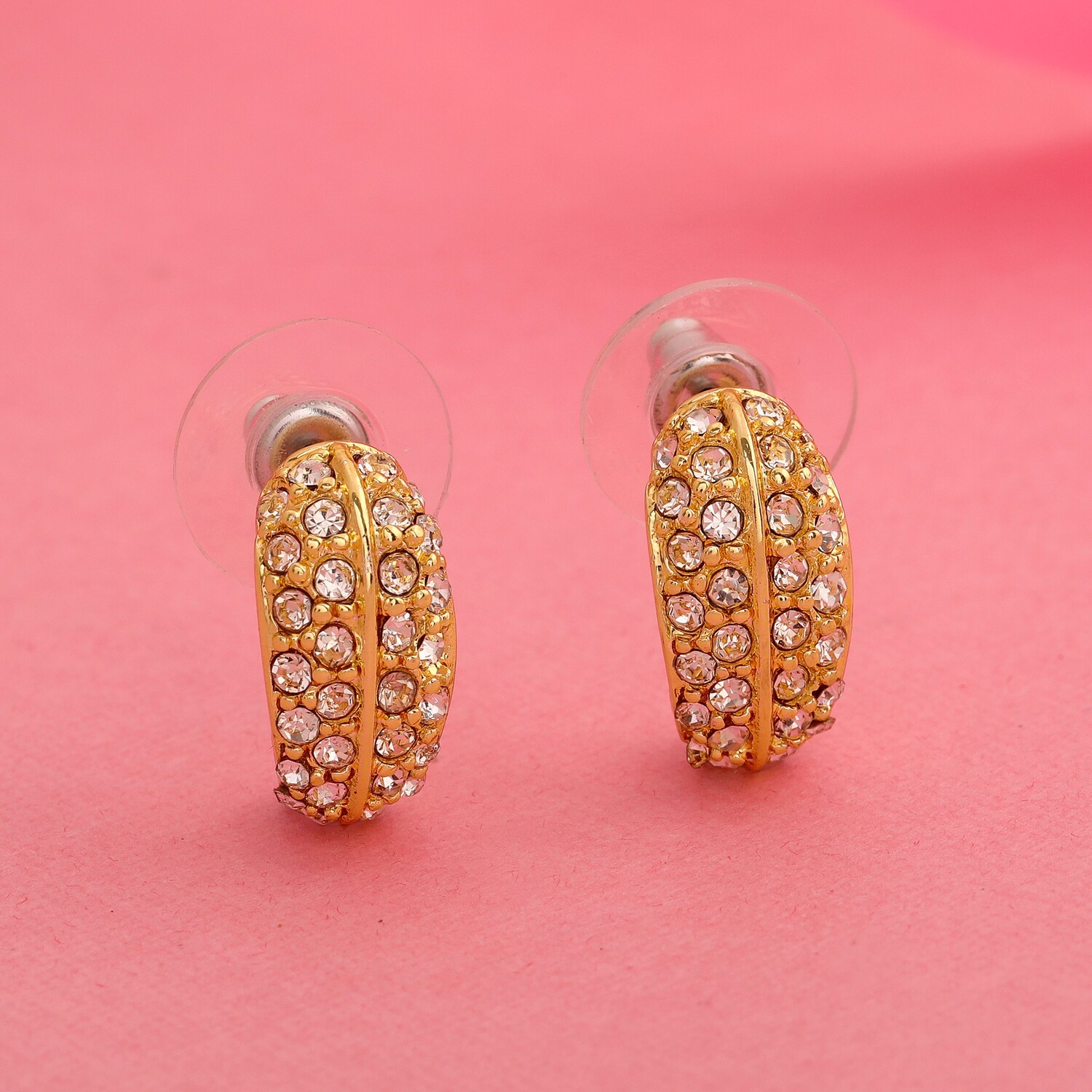 Estele 24Kt Gold Plated Candy Earring with White Crystals
