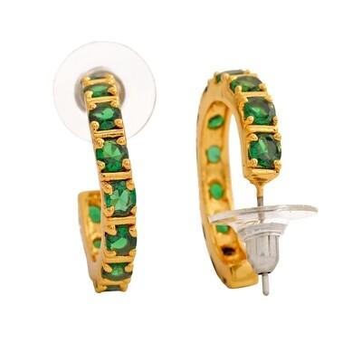 Estele 24 Kt Gold Plated Emerald CZ Hoop Earrings