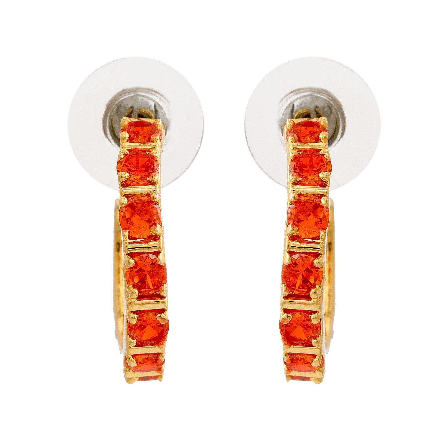 Estele 24Kt Gold Plated Orange CZ Hoop Earrings