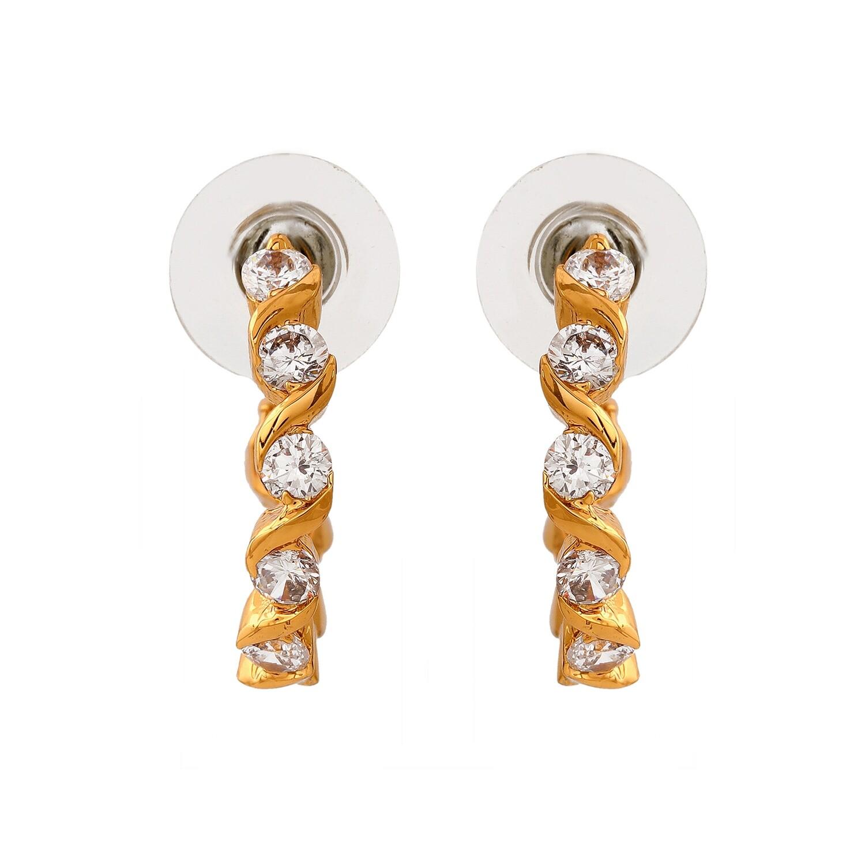 Estele 24Kt Gold Plated White CZ Hoop Earrings
