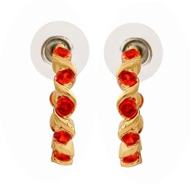 Estele 24Kt Gold Plated Ruby CZ Hoop Earrings