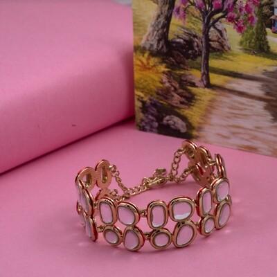 Estele Traditional Gold Tone Kundan Double line  Wrap bracelet