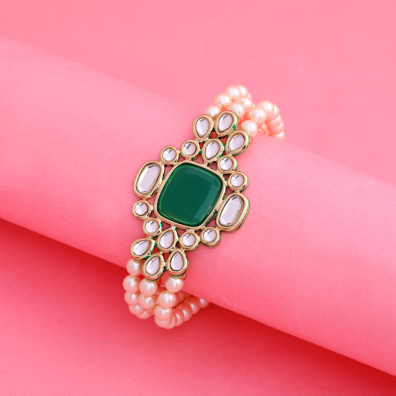 Estele Traditional Gold tone Royal Emerald Pearl Kundan Bracelet