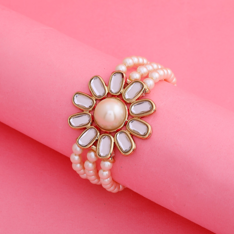 Estele Traditional Gold Tone Pearl Flower Kundan Bracelet