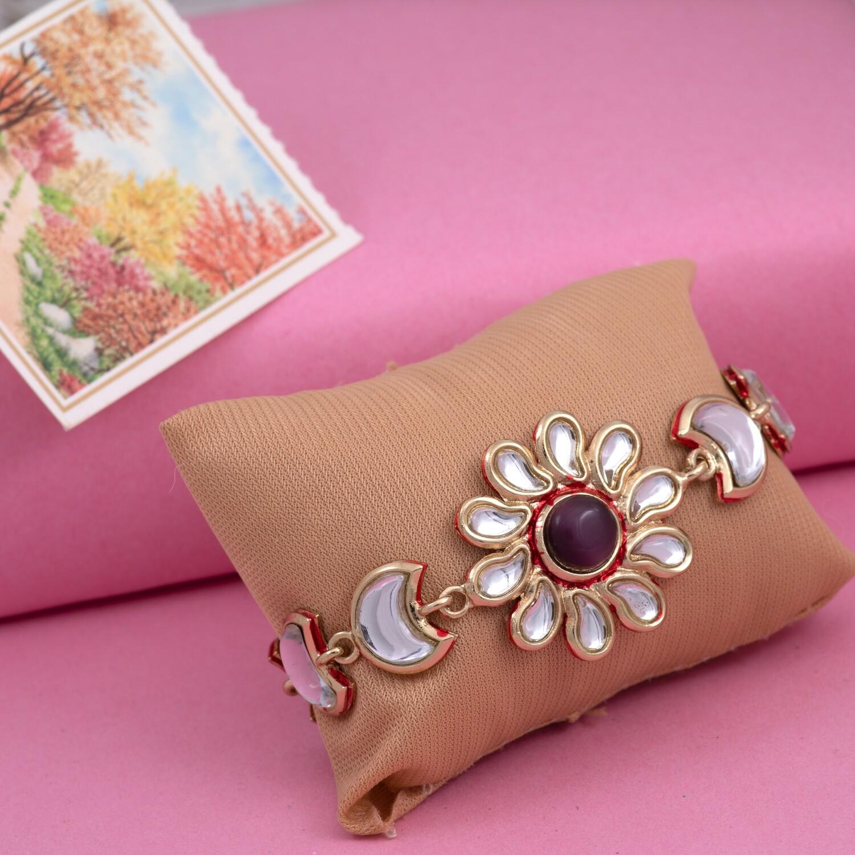Estele Traditional Gold Tone Kundan Chand Wrap Bracelet