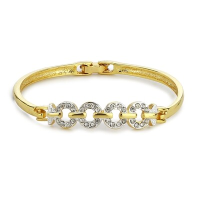 Estele Gold Plated White Crystal Stone Bangle Bracelet