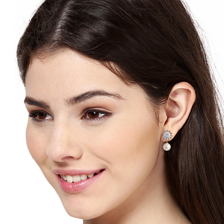 Estele Pearl Drop AD Stone Earring