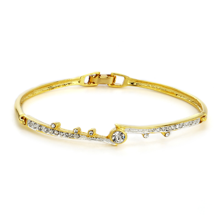 Estele  Gold Plated White Crystal Stone Bangle Bracelet For Women
