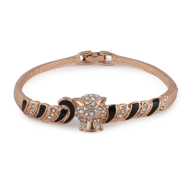 Estele Black Enamel with Austrian Crystal Bracelet
