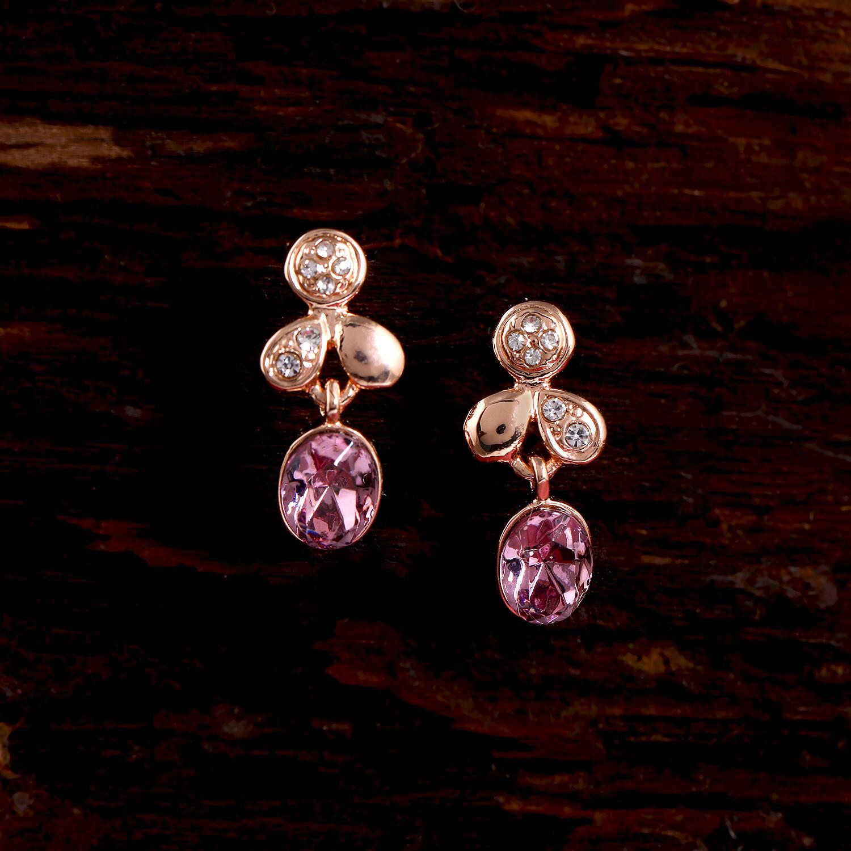 Estele Austrain Crystal Leaf Drop Earrings