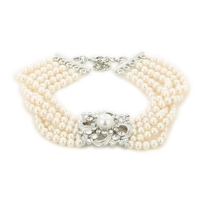 Estele White Flux Pearl Charm Bracelet