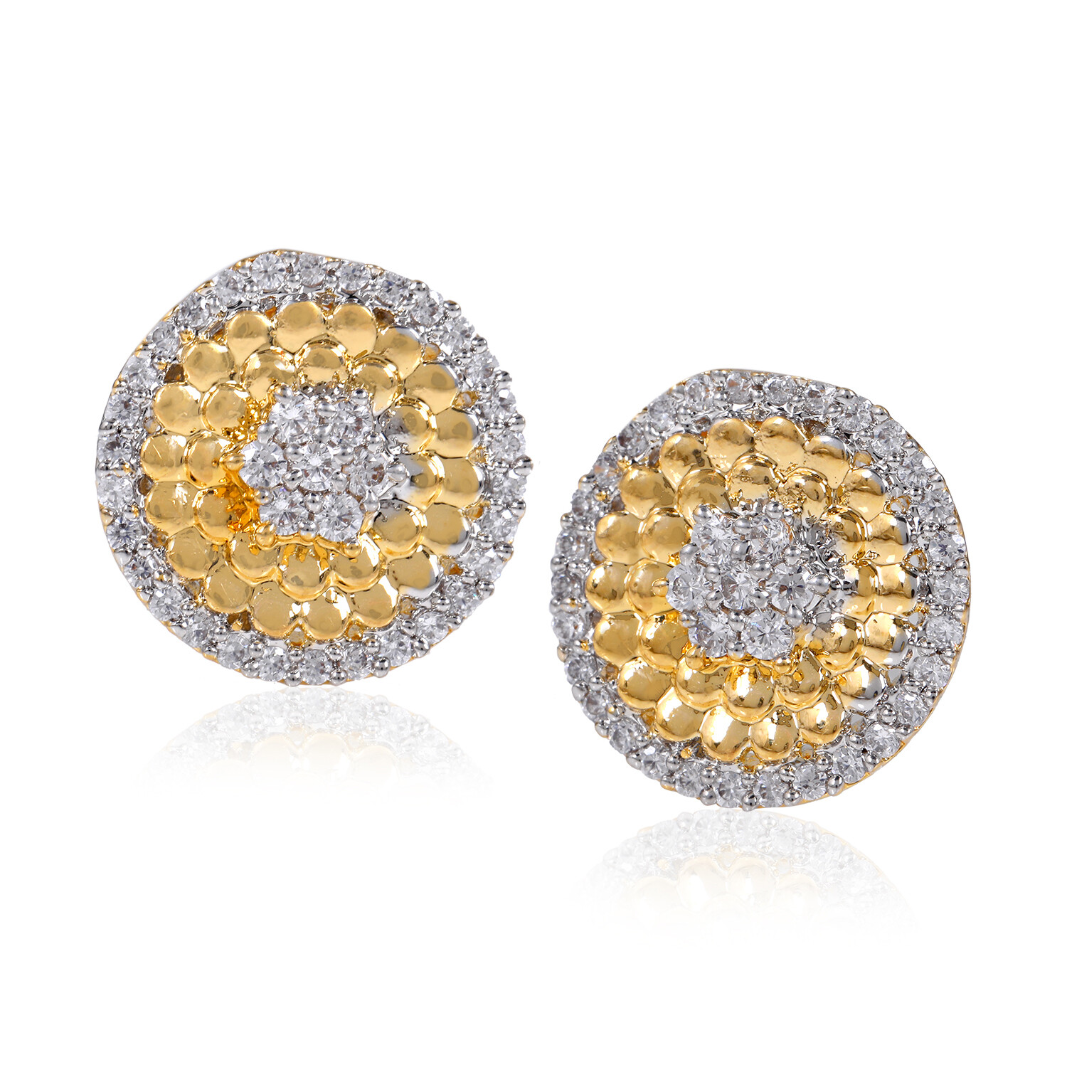 Estele Austrian AD Crystals Gold Plated Stud Earring