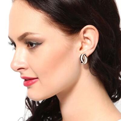 Estele Black And White Enamel Stud Earring