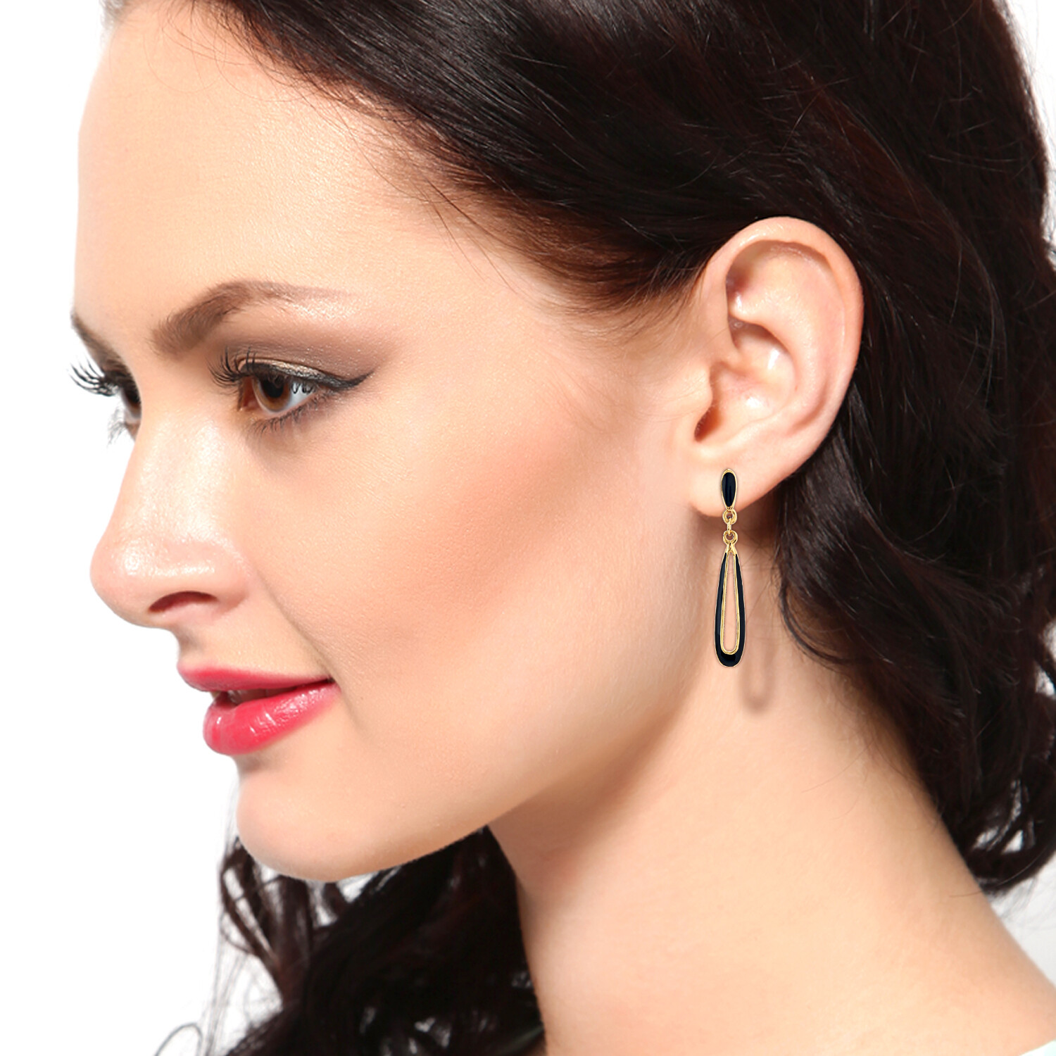 Estele Black Enamel Drop Dangler Earring