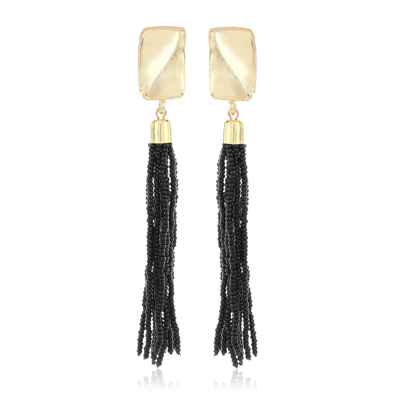 Estele Black Beaded Tassel Earring