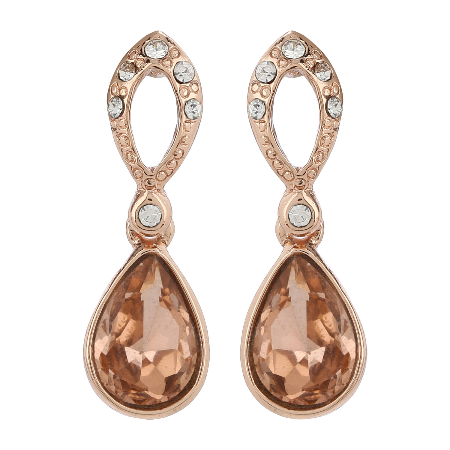 Estele Bright Rose Gold Swarovski Stone Drops Earring