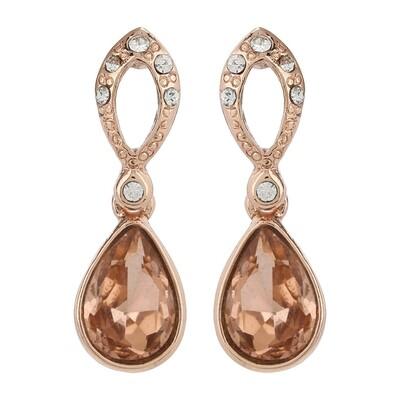 Estele Bright Rose Gold Swarovski Stone Drops Earring