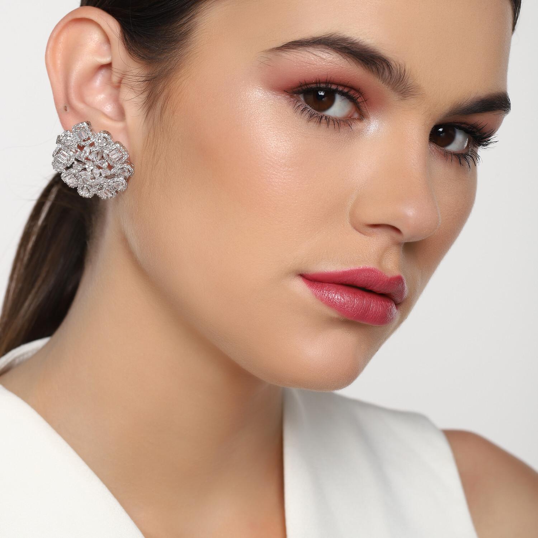 Estele Magnolia American Diamond Stones Earring