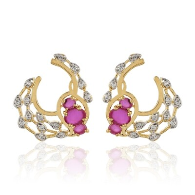 Estele Pink & White AD Stone Stud Earring