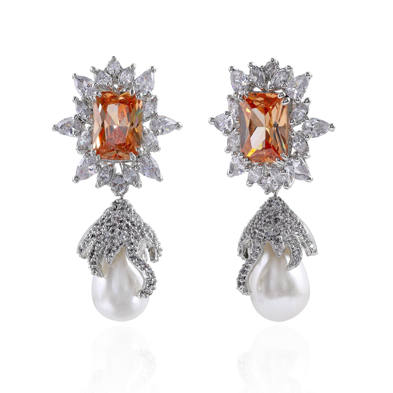 Estele Floral Drop Silver Plated Cubic Zirconia Crystal Earrings
