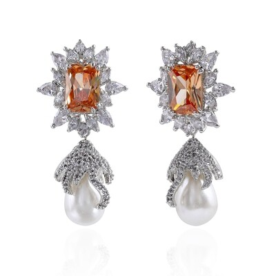 Estele Floral Drop Silver Plated Cubic Zirconia Crystal Earrings