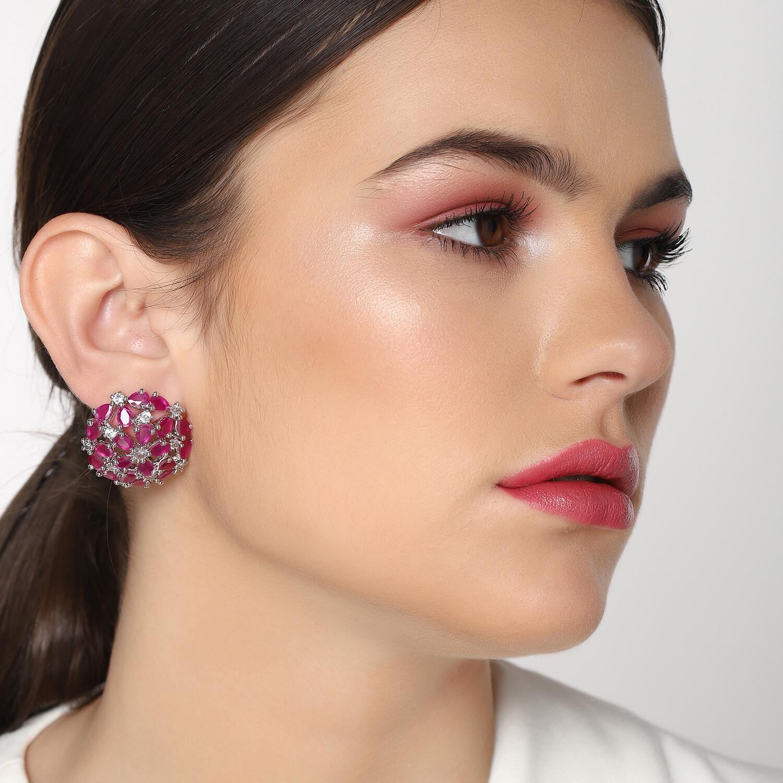 Estele Luxor Ruby Diamond Studs Earrings
