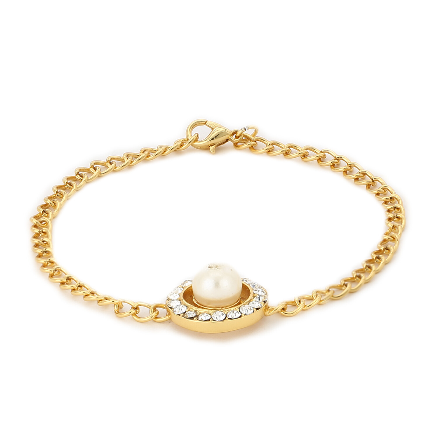 Estele 24Kt Gold Tone Plated Pearl With White Austrian Crystal Stone Bracelet