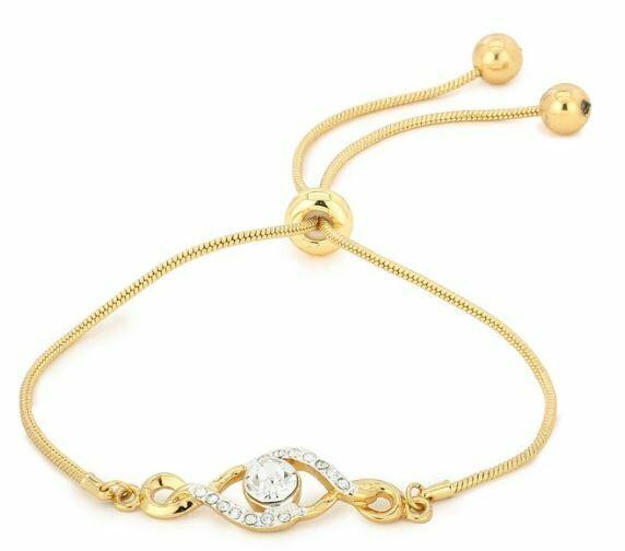 Estele Round Shaped White Austrian Crystal Bracelet
