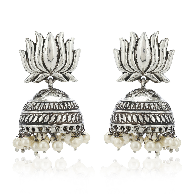 Estele Lotus Oxidized Jhumki Earring