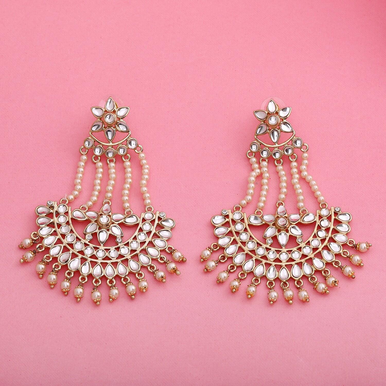 Estele Traditional Gold Plated Fancy Dangler Chandbali Pearl Kundan Earrings
