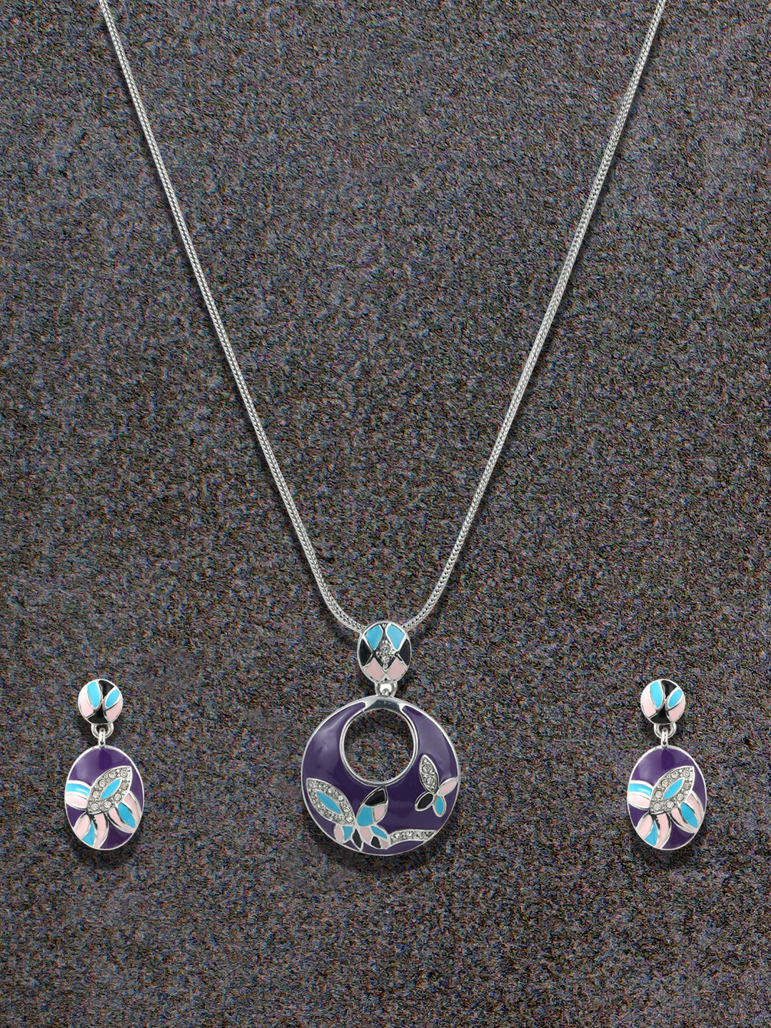 Estele Purple Butterfly Earning And Pendent Set