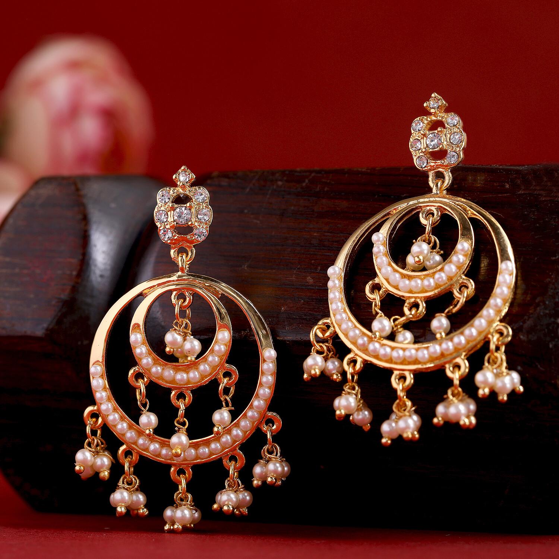 Estele Traditional Chandbali Pearl Drop Earrings