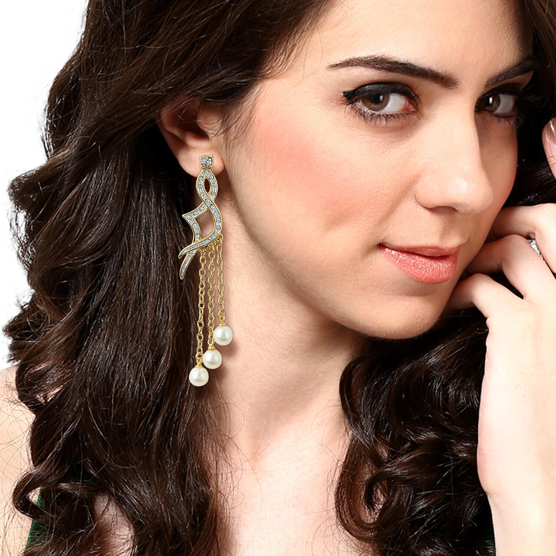 Estele Hanging Pearl Diamante Earrings