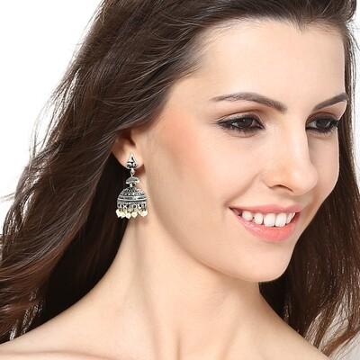 Estele White Beaded Drop Jhumka Earring