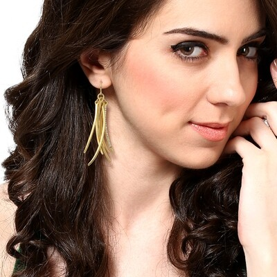 Estele Metallic Tassel Earrings