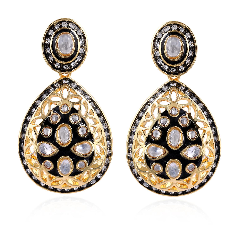 Estele Handcrafted Kundan Drop Earrings