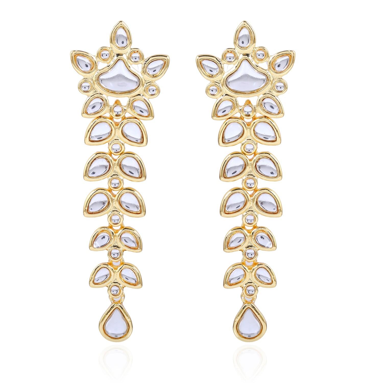 Estele Floral Mirror Kundan Dangle And Drop Earrings