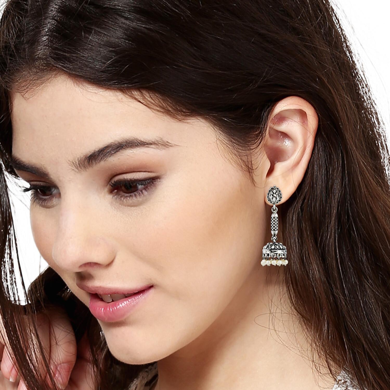 Estele Pearl Drop Long Jhumka Earring