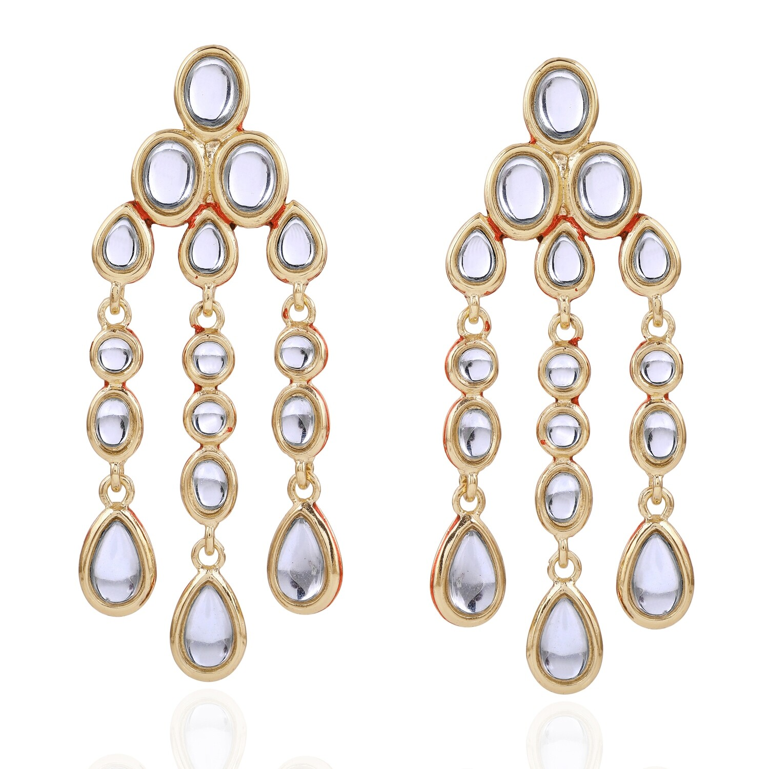 Estele Mirror Kundan Dangle And Drop Earrings