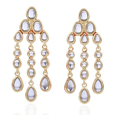 Estele Mirror Kundan Dangle And Drop Earrings