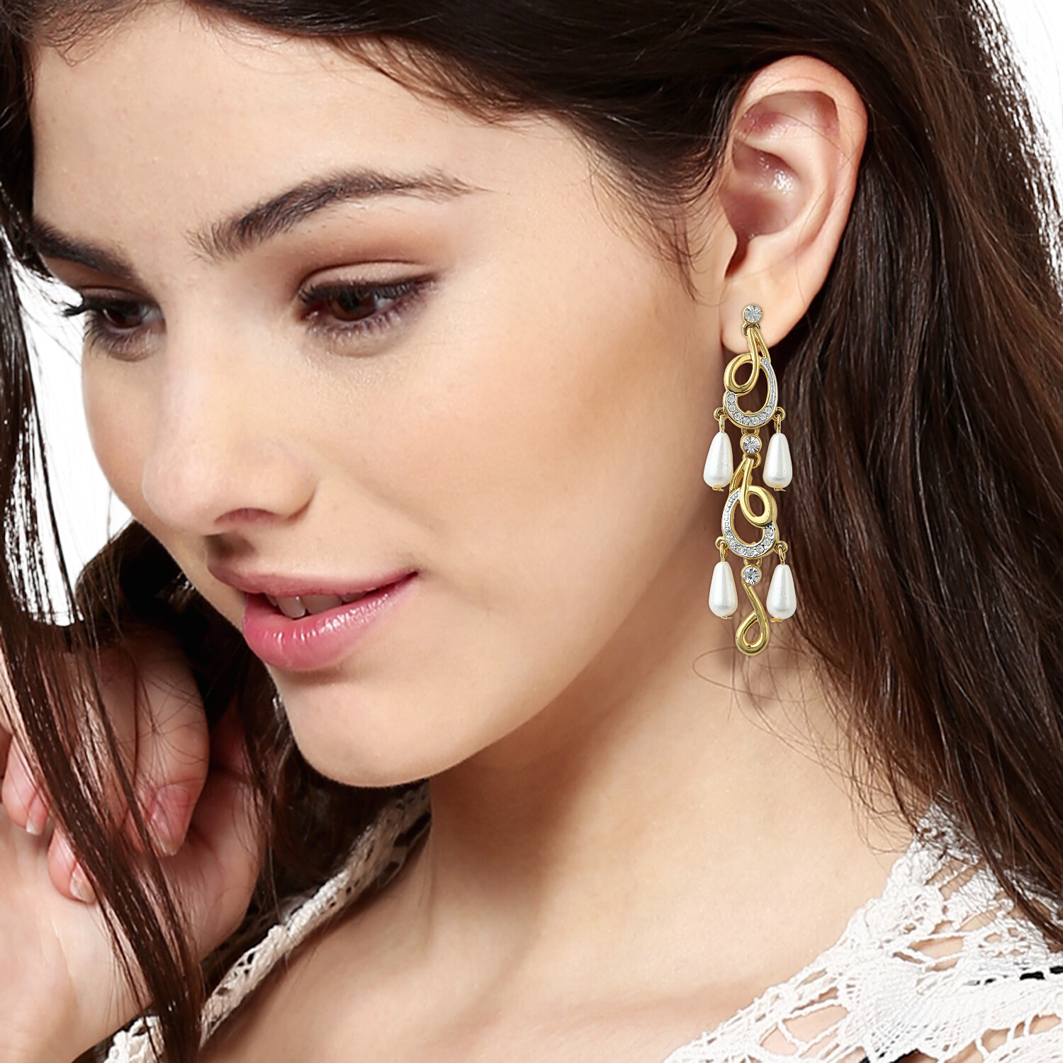 Estele Pearl Drop Dangler Earrings