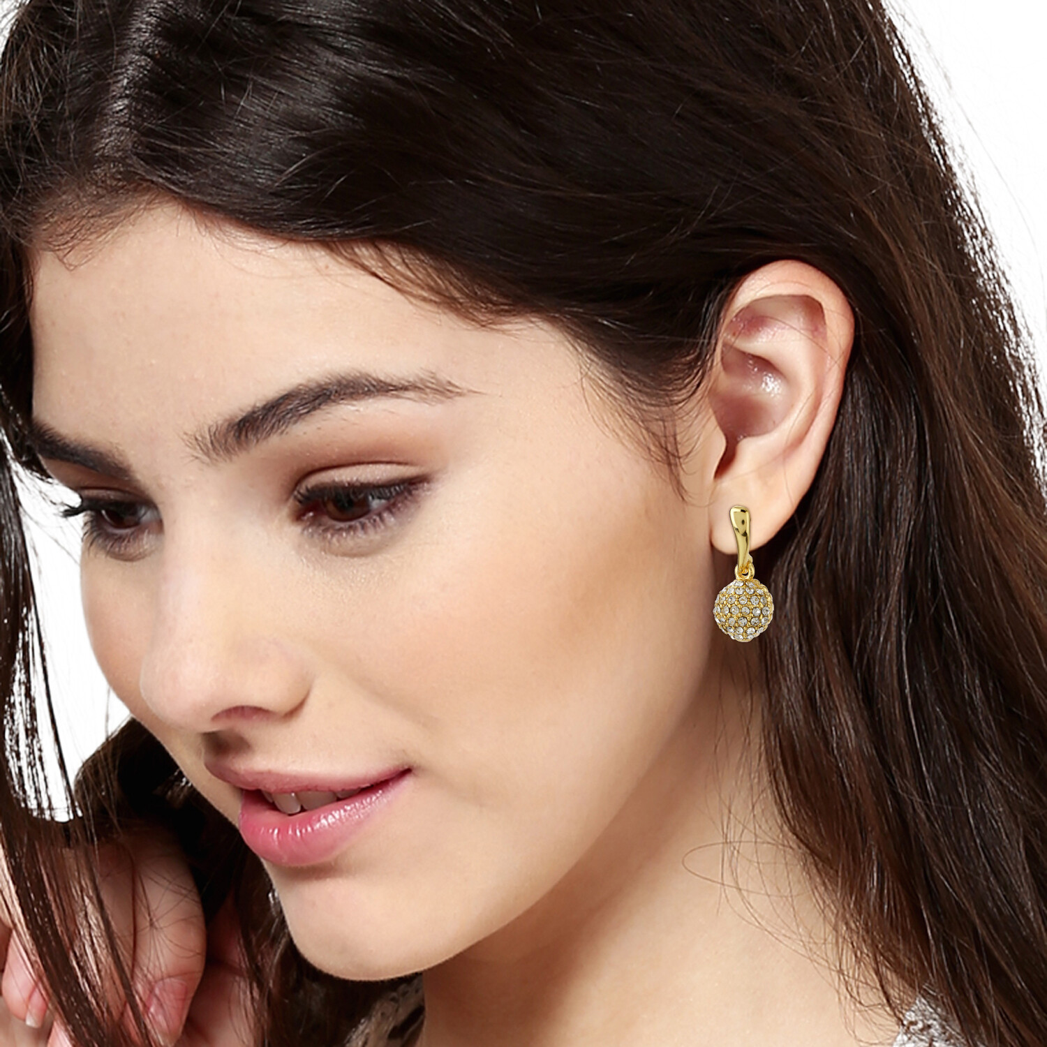 Estele Gold Plated White Austrian Crystal Stone Round Drop Earrings