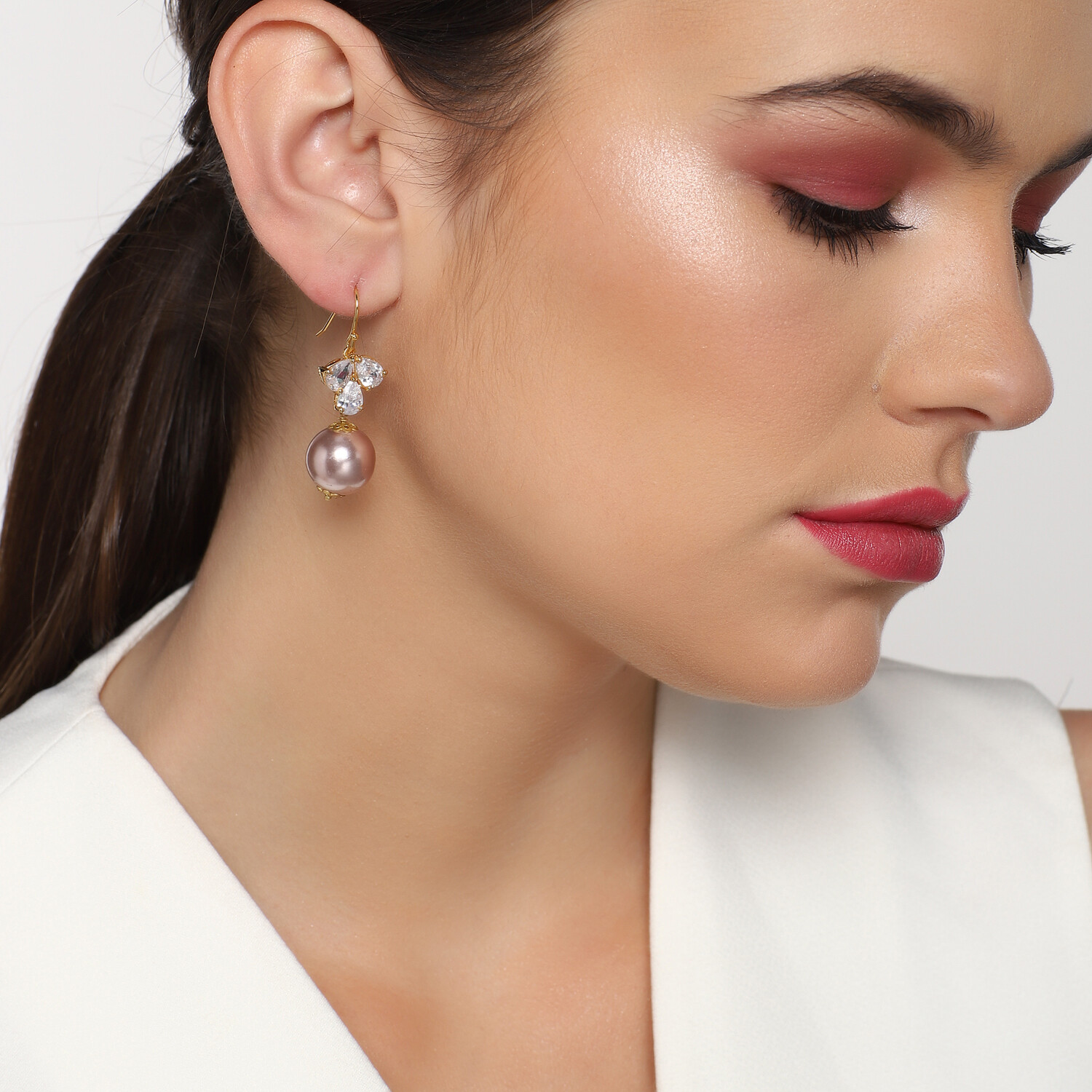 Estele Rose Gold AD stone Pearl Drop
