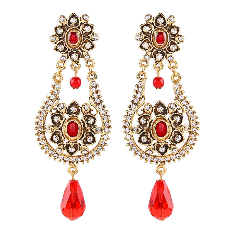 Estele Traditional Gold Plated Pearl Dangle Drop Earrings for Women