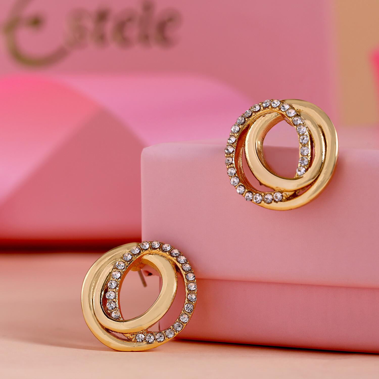 Estele Geometric Circle Stud Earrings