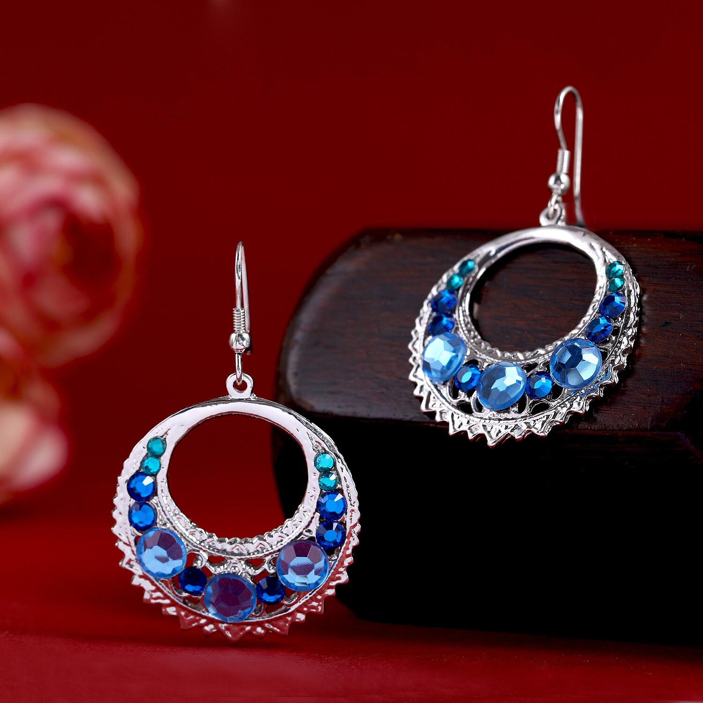 Estele Party Wear Silver Toned Blue Crystal Dangler Earrings