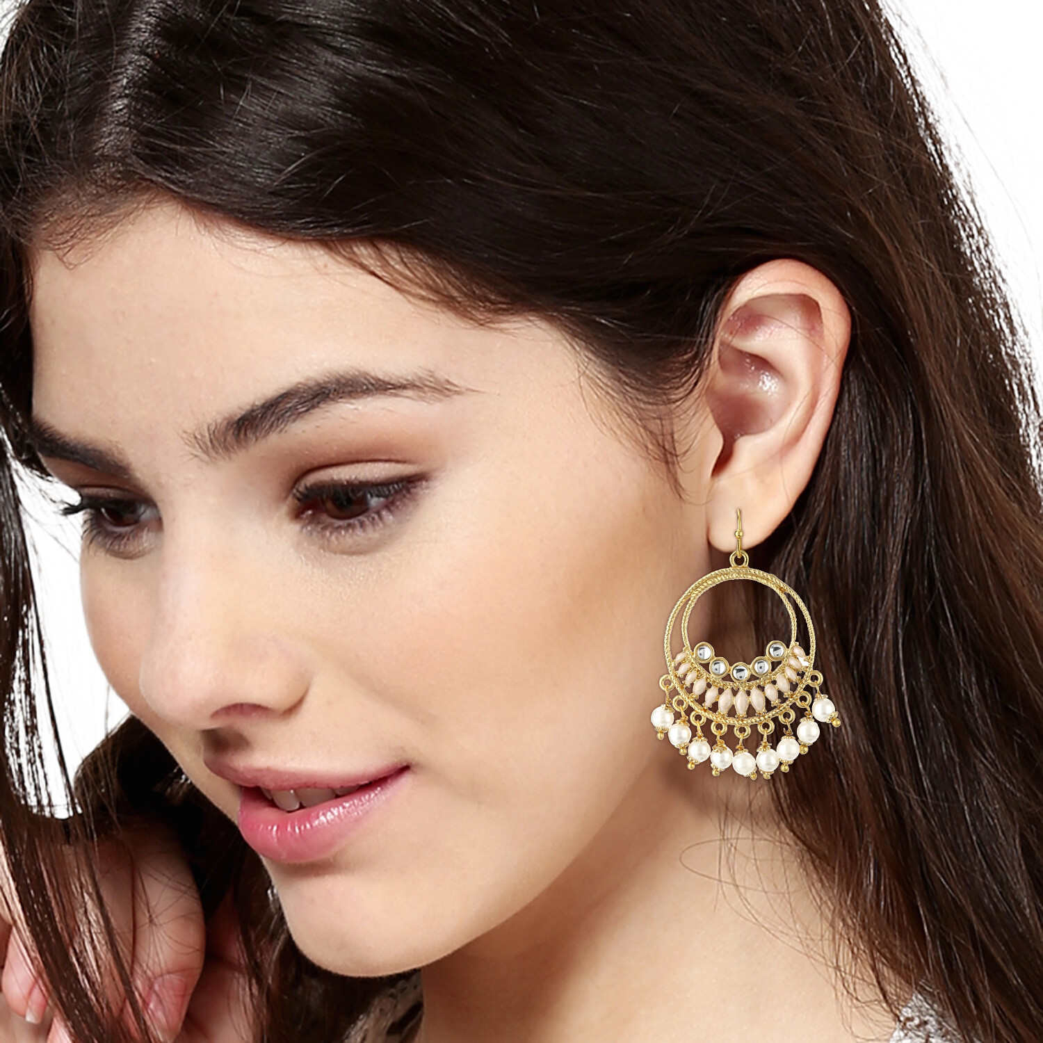 Estele Round Hoops With White Beds Drop earrings