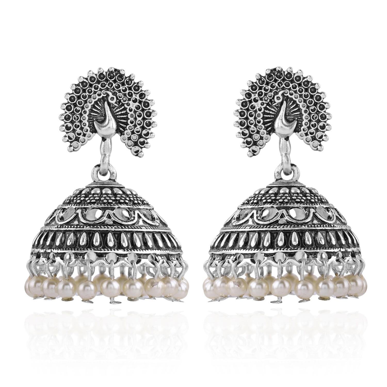 Estele Oxidised Peacock Earrings