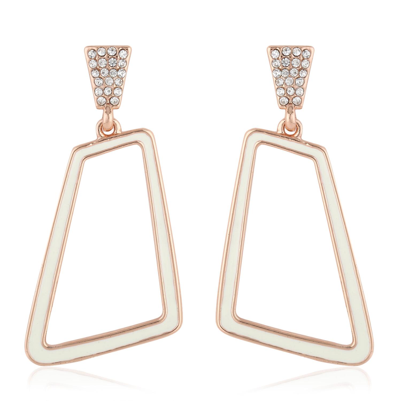 Estele Rose Gold White Enamel Hexagon Danglers Earring